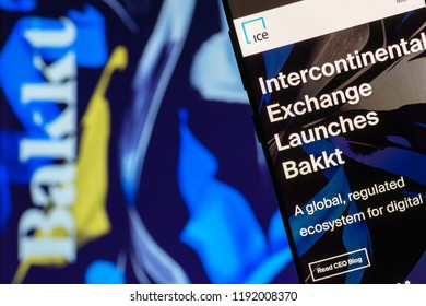 KYRENIA, CYPRUS - SEPTEMBER 30, 2018: Website of Intercontinental Exchange NYSE: ICE  with announcement of launching Bakkt - open and regulated crypto platform and global ecosystem for digital assets