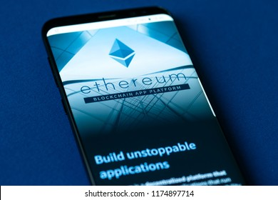 KYRENIA, CYPRUS - SEPTEMBER 8, 2018: Official website of Ethereum project displayed on the smartphone screen. Etherem is an open source public blockchain based distributed computing platform and OS