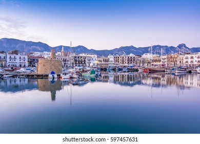Kyrenia, Northern Cyprus - March 07, 2017 : Kyrenia old harbour and castle view in Northern Cyprus. Kyrenia is populer tourist destination in Northern Cyprus.