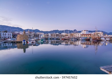 Kyrenia, Northern Cyprus - March 07, 2017 : Kyrenia old harbour and castle view in Northern Cyprus. Kyrenia is populer tourist destination in Northern Cyprus.