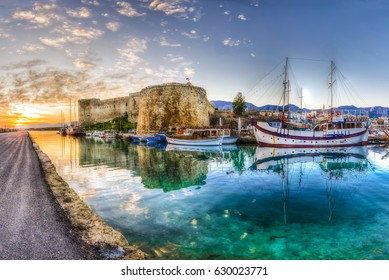 Kyrenia old harbour and castle view in Northern Cyprus. Kyrenia is populer tourist destination in Northern Cyprus.