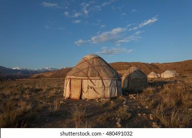 Kyrgyz yurt near Issykul Lake in Kyrgyzstan.