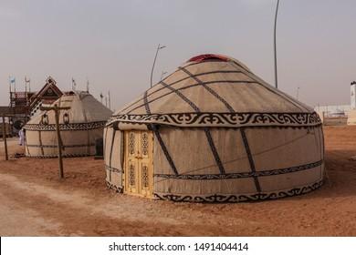 Kyrgyz yurts on the Nomadic World Show during the 2019 King Abdulaziz Camel Festival