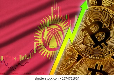 Kyrgyzstan flag and cryptocurrency growing trend with many golden bitcoins