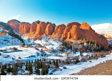 Kyrgyzstan - Issyk-Kul - The famous Jety-Oguz (Seven Bulls) rock formation in Terskey Alatau mountain range at winter snowy landscape