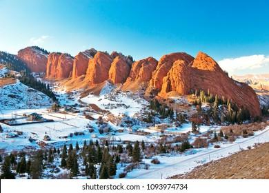 Kyrgyzstan - Issyk-Kul - The famous Jety-Oguz (Seven Bulls) rock formation in Terskey Alatau mountain range at winter snowy landscape