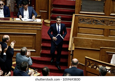 Kyriakos Mitsotakis attends in a discussion regarding the new electoral law, at the plenary hall of the Greek parliament in Athens, Greece on July 21, 2016