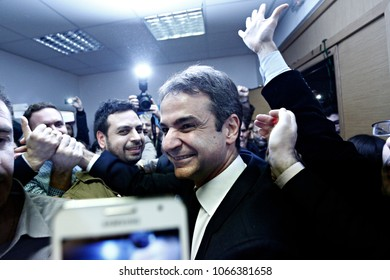 Kyriakos Mitsotakis was elected as the new president of  New Democracy party leader in Athens, Greece on Jan. 10, 2016