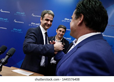Kyriakos Mitsotakis reacts as he elected new president of  New Democracy party in Athens, Greece on Jan. 10, 2016