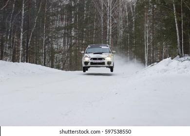 "Kyshtym Russia February 25, 2017 - The 6th round of the Russian Rally Cup ""Malachite-2017"" car Subaru Impreza WRX Sti driver Myasnikov, start number 4"