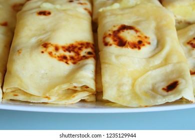 Kystyby - traditional Tatar and Bashkir dough dish with filling. Close-up. Background.