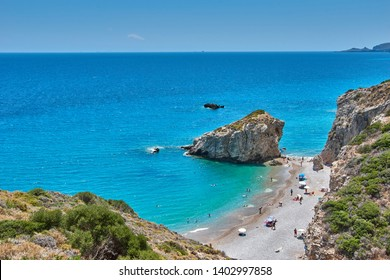 Kythera - Greece, July 2018: Kaladi beach, scenery with crystal clear water and the rock formation against a deep blue sky in Kythira island during Summer period. Ionian, Greece, Europe