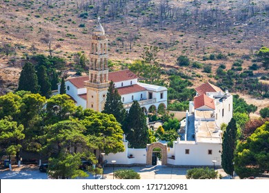KYTHERA, GREECE - JUNE 2018: Exterior view of Panagia Myrtidiotissa monastery and spiritual center of Kythira. The temple is dedicated to the Virgin Myrtidiotissa considered the patroness of Kythira