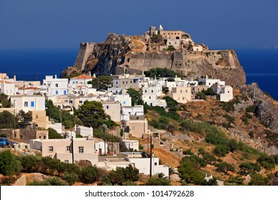 "KYTHIRA ISLAND, GREECE. The Chora (""capital"") of Kythira (or ""Cythera"") with its Venetian castle to the right on top of the hill."