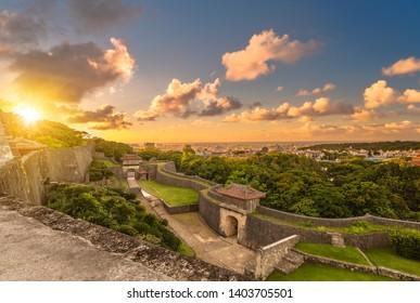 kyukeimon gate of Shuri Castle's in the Shuri neighborhood of Naha, the capital of Okinawa Prefecture, Japan.