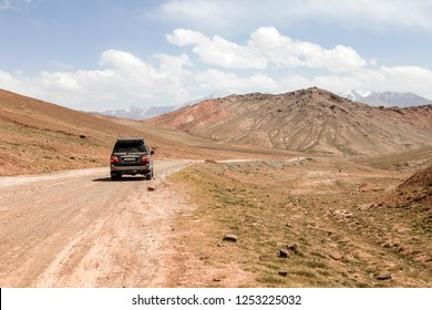 Kyzlyart, Kyrgyzstan August 21 2018: Kyzylart Pass (4280m) on The Pamir Highway at the border of Kygyzstan and Tajikistan in the Pamir mountains