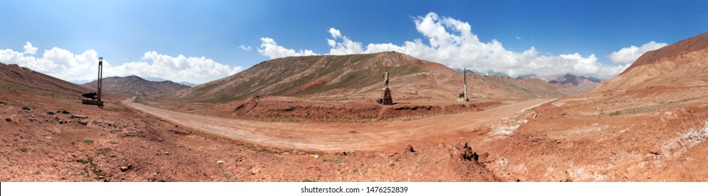 Kyzylart or Kyzyl-Art pass. Kyrgyzstan and Tajikistan border. Pamir mountains. Red colored mountain. Pamir highway or Pamirskij trakt, Roof of the world, m41 international road
