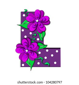 """L, in the alphabet set """"Clinging Vine"""", is decorated with mod flowers in three layers.  Letters are purple and vines and leaves are mint green."""