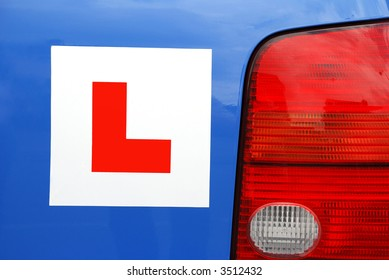 L Plate on car for learner driver - rear view