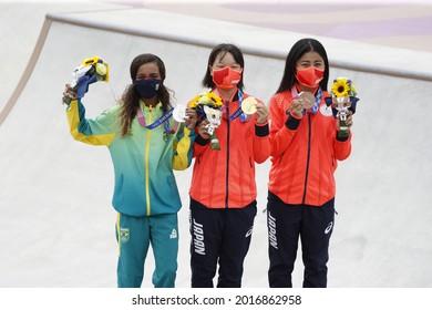 (L to R) Rayssa Leal (BRA), Momiji Nishiya, Funa Nakayama (JPN) - Skateboarding : Women's Street Medal Ceremony during the Tokyo 2020 Olympic Games at the Ariake Urban Sports Park in Tokyo, Japan.
