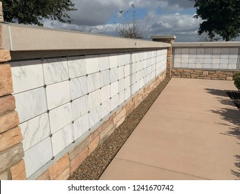 L shaped columbarium wall in cemetery