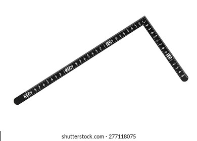 L shaped ruler isolated on white background