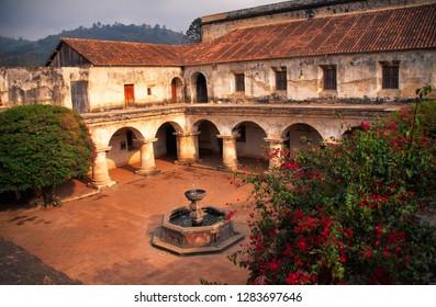 La Antigua, Guatemala, Las Capuchinas Convent Ruins, arches, courtyard, bougainvillea, April 28, 1999