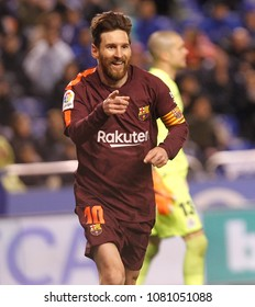 La Coruña,Spain .April 29, 2018 .Lionel Messi of FC Barcelona celebrate his goal  during the La Liga match between Deportivo de La Coruña and FC Barcelona at Riazor stadium.
