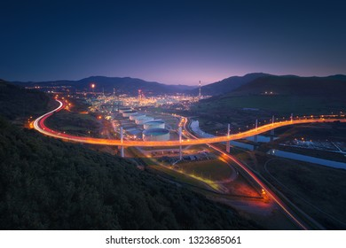 La Arena bridge with car trails in Muskiz at night