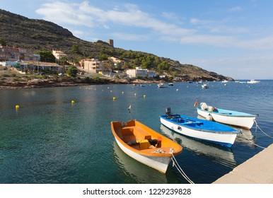 La Azohia Murcia Spain with boats moored by the sea .  The village located near La Isla Plana and between Puerto de Mazarron and Cartagena.