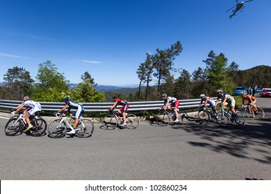 LA BARACCA, LA SPEZIA, ITALY - MAY 17: Nine cyclists on escape, with Lars Bak that will win the stage, during the 12th stage of 2012 Giro d'Italia on May 17, 2012 in La Baracca, La Spezia, Italy