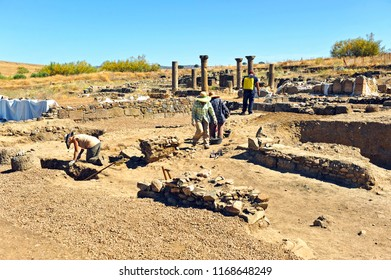 La Bienvenida, Spain - Aug 7, 2014:  Archaeological excavations in the ruins of the Roman city of Sisapo, province of Ciudad Real, Spain