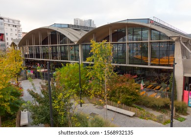 La Felicità (Big Mamma) outdoor, Paris, France. Located in the Station F, this italian food market is the biggest restaurant in Europe. Delicious food. Former rail freight depot. November 2019.