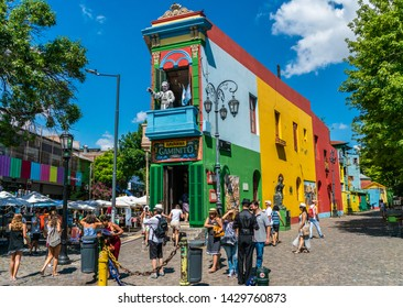 La Boca, Buenos Aires, Argentina - January 22th 2019, Tourists making pictures and visiting the famous coloured houses at Caminito