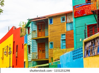 La Boca, view of colorful buildings in the city center, Buenos Aires, Argentina. Copy space for text