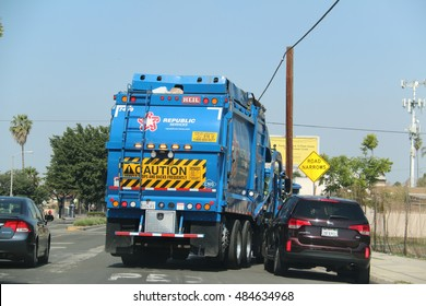 LA, CA, USA - June 16, 2016:  Republic Services, Inc. is the second largest provider non-hazardous solid waste collection, transfer, disposal, recycling, and energy services in the United States.