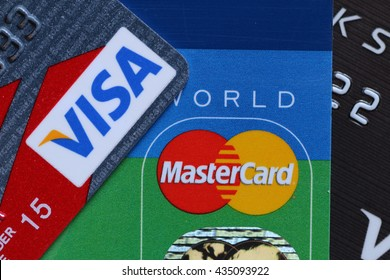 LA, CA, USA - May 26, 2016: Credit card is a method of payment that issuer grants a line of credit to the cardholder, from which the cardholder can borrow money for payment to a merchant.