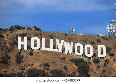 LA, CA, USA - November 10, 2014: The Hollywood Sign is a landmark and American cultural icon located on Mount Lee in the Hollywood Hills area of the Santa Monica Mountains in Los Angeles, California.
