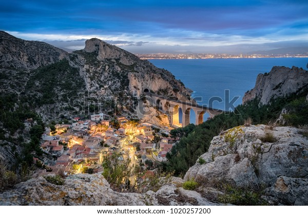 La calanque de la Vesse - a steep-sided valley on Mediterranean coast near Marseille, Provence, France