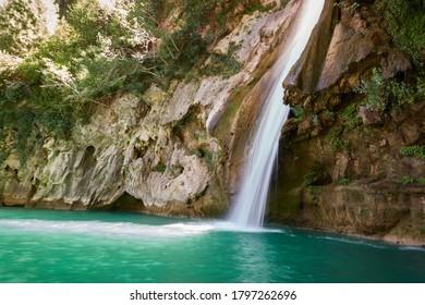 La Calavera waterfall on the Borosa river. Sierra de Cazorla, Segura and Las Villas Natural Park. Jaen. Andalusia. Spain