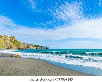 La Caleta Beach, Nerja, Andalusia, Spain, Iberian Peninsula