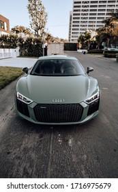 LA, California; April 21, 2020. Audi R8 V10 Plus Exclusive Edition parking on the street. Editorial photo.