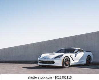 LA, California; February 16, 2018. Corvette Stingray C7 on the parking lot. Editorial photo.