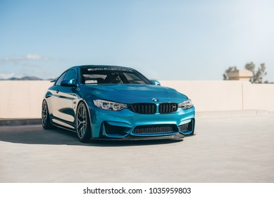 LA, California; February 26, 2018. BMW M4 F82 on the parking lot. Editorial photo.