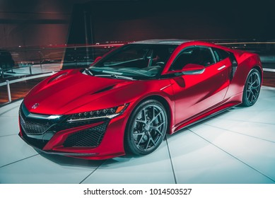 LA, California; January 22, 2018. Acura NSX at LA Auto Show. Editorial photo.