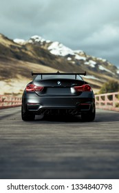 LA, California; March 10, 2019. BMW M4 on the front of mountain. Editorial photo.