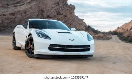 LA, California; March 12, 2018. Corvette Stingray C7 on the front of mountain. Editorial photo.