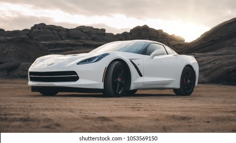 LA, California; March 12, 2018. Corvette Stingray C7 on the front of mountain. Editorial photo.
