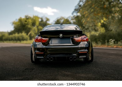 LA, California; March 20, 2019. BMW M4 on the front of mountain. Editorial photo.
