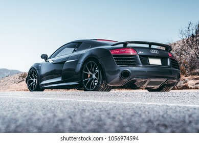 LA, California; March 24, 2018. Audi R8 on the front of mountain. Editorial photo.